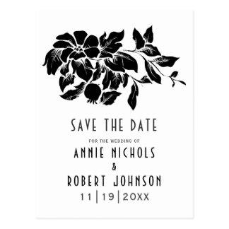 Svart vitblommigtbröllop spara datum vykort
