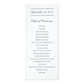 Svart- & vitbröllopsprogrammall 10,2 x 23,5 cm inbjudningskort