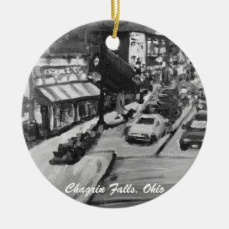 Svart- & vitChagrinnedgångar, Ohio prydnad Julgransprydnad Keramik