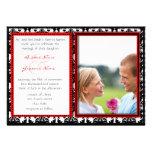 Svart- & vitdamast din fotobröllopinbjudan anpassningsbara tillkännagivanden