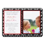 Svart- & vitdamast din fotobröllopinbjudan tillkännagivande