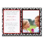Svart- & vitdamast din fotobröllopinbjudan individuella inbjudningskort