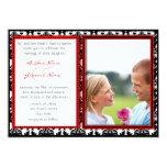 Svart- & vitdamast din fotobröllopinbjudan 12,7 x 17,8 cm inbjudningskort