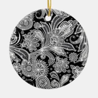 Svart- & vitPaisley mönster Julgransprydnad Keramik