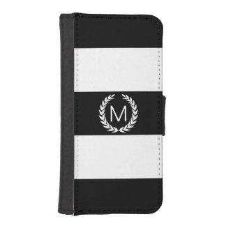 Svart- & vitrand med lagrarkranmonogramen plånboksfodral för iPhone SE/5/5s