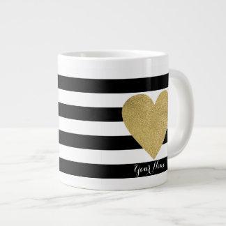 Svart- & vitrandar med guld omkullkastar hjärta jumbo mugg