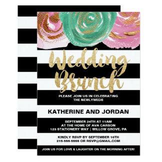 Svart vitrandar och guld- textbröllopfrunch 12,7 x 17,8 cm inbjudningskort