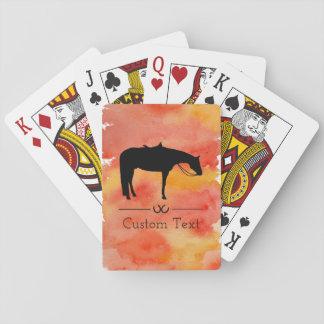 Svart western hästSilhouette på vattenfärg Spel Kort