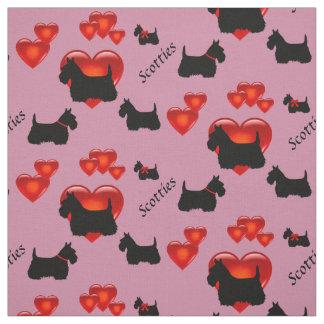 Svart/wheaten silhouettehjärta för skotsk Terrier Tyg