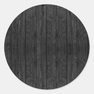 Svart Wood väggstruktur strukturerar Runt Klistermärke