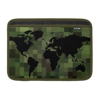 svart worldmap. gröna PIXEL Sleeves För MacBook Air