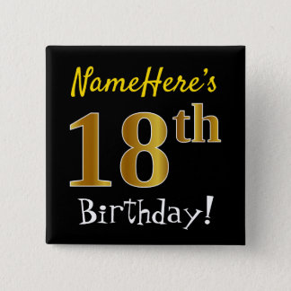 Svärta den 18th födelsedagen för Fauxguld, med Standard Kanpp Fyrkantig 5.1 Cm