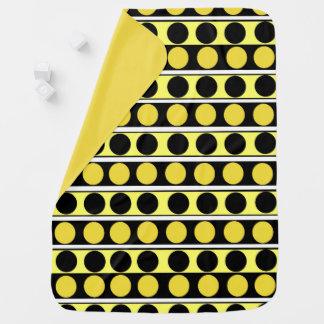Svärta, gult och vitrand- och polka dotsbab bebisfilt