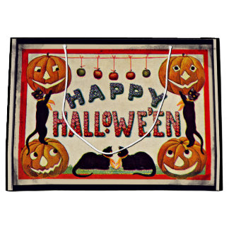 Svarta katter för vintagehappy halloweenpumpor