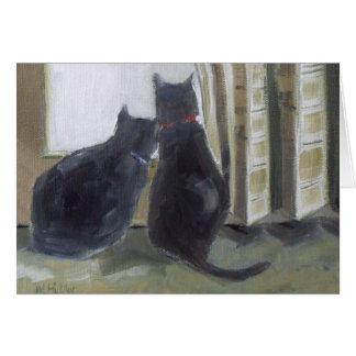 Svarta katter hälsningskort