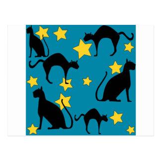 svarta katter vykort