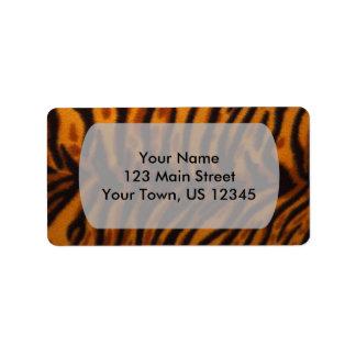 Svärta randig tigerpäls eller flå strukturmallen adressetikett