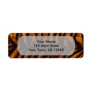Svärta randig tigerpäls eller flå strukturmallen returadress etikett