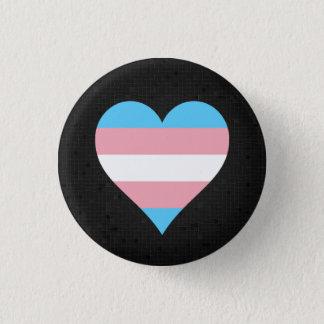Svarten för Transgenderpridehjärta knäppas Mini Knapp Rund 3.2 Cm
