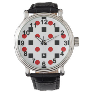 Svarten kvadrerar röd polka dotsmönstervit BG Armbandsur