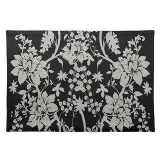 Svarten och silver dammar av blommönstret bordstablett