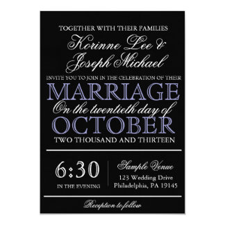 Svarten skrivar modern bröllopinbjudan 12,7 x 17,8 cm inbjudningskort