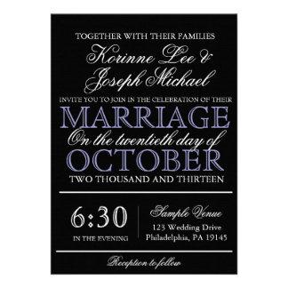 Svarten skrivar modern bröllopinbjudan personliga tillkännagivande