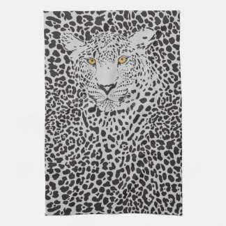Svarten Spots Leopardillustrationen Kökshandduk