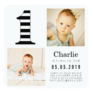 Svarten & vit görar randig 1st födelsedagfotokort fyrkantigt 13,3 cm inbjudningskort