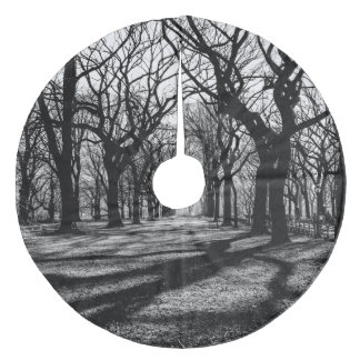 Svarten & vit landskap i Central Park Julgransmatta Fleece