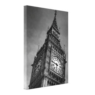 Svarten & vit upp stora Ben London reser tätt Canvastryck