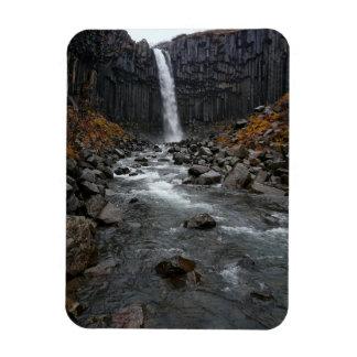 Svartifoss vattenfall i vertikal magnet för island