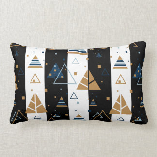 Svartrandar & färgrikt triangelmönster lumbarkudde
