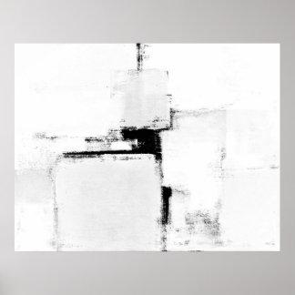 """Svartvit abstrakt konstaffisch """"för Surround"""" Poster"""