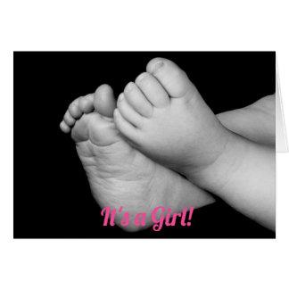 Svartvit babyfot är det en flicka hälsningskort