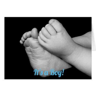Svartvit babyfot är det en pojke hälsningskort