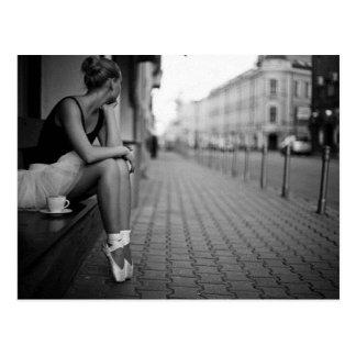 Svartvit Ballerina Vykort