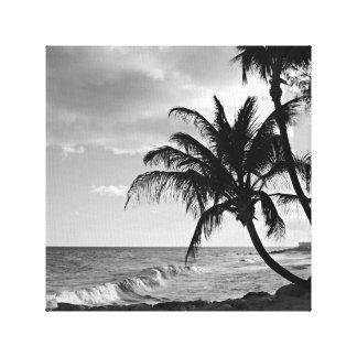 Svartvit Barbados palmträdstrand Canvastryck