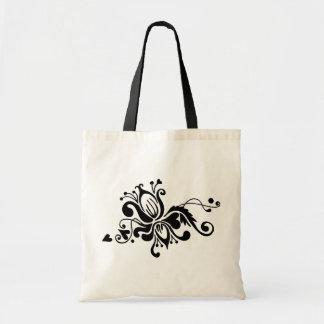 Svartvit barock blomma - tygkasse