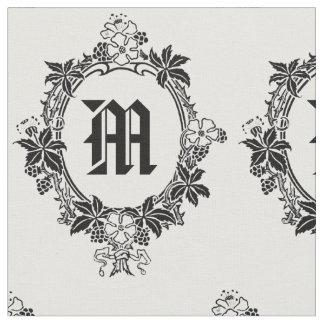 Svartvit blom- gräns med monogramen tyg