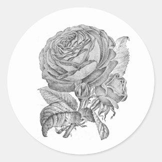Svartvit blom- klistermärke för vintagero