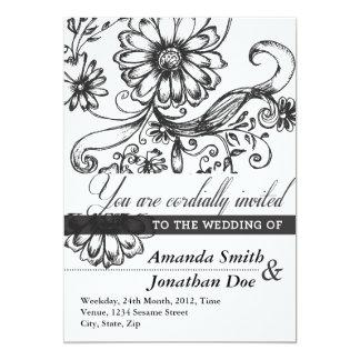 Svartvit blommabröllopinbjudan 12,7 x 17,8 cm inbjudningskort