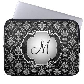Svartvit damast för Monogram Laptop Fodral
