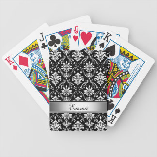 Svartvit damast för Monogram Spelkort