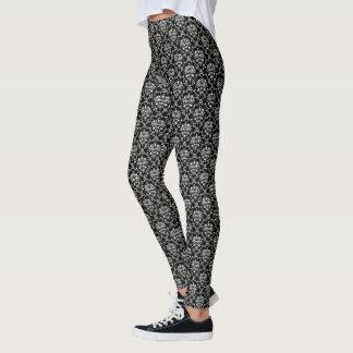 Svartvit damast leggings