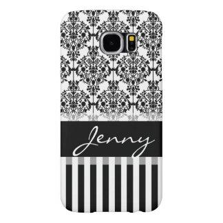 Svartvit damast, randar, Monogram Samsung Galaxy S6 Fodral