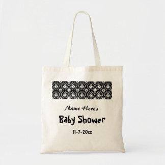 Svartvit damastast baby shower tote bags