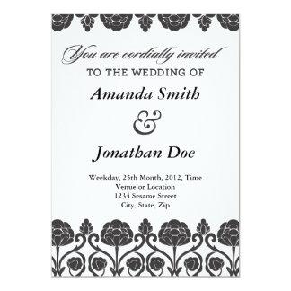 Svartvit damastast bröllopinbjudan 12,7 x 17,8 cm inbjudningskort