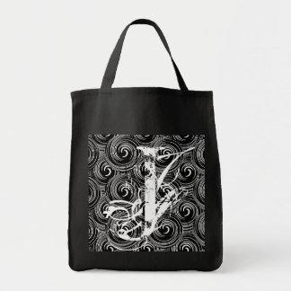 Svartvit design Totebag för Monogrambrev J Tote Bags