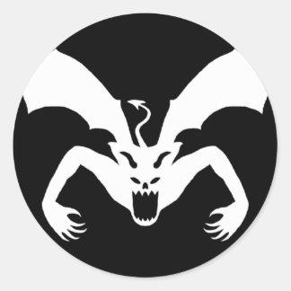Svartvit djävulen runt klistermärke